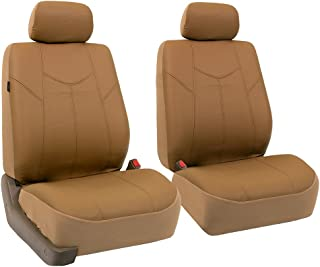 FH Group PU009102 Rome PU Leather Pair Set Car Seat Covers, Airbag Compatible, Solid Tan - Fit Most Car, Truck, SUV, or Van