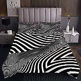 Schwarz-Weiß-Streifen Art Tagesdecke 170x210cm Moderne Zebra-Linien Steppdecke für Kinder Jungen Mädchen Mode Softest Bettüberwurf Schwarz Kuscheldecke Bunte Gesteppte Decke Schwarz Ultra weich 2St