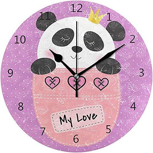 Wandklok Silent 9,5 inch batterij aangedreven Non Ticking Cute Panda Princess zitzak ronde acryl Quiet horloges