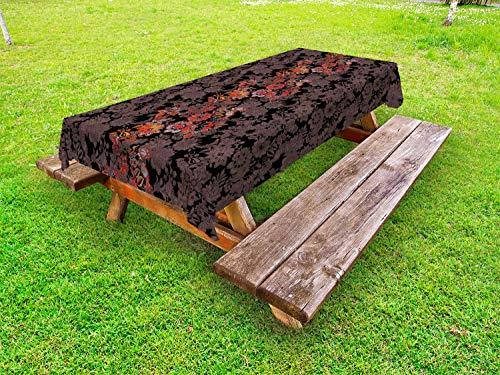ABAKUHAUS Bloem Tafelkleed voor Buitengebruik, Japanse Vivid Bloemen, Decoratief Wasbaar Tafelkleed voor Picknicktafel, 58 x 104 cm, Zwart Oranje Mosterd