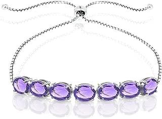 DiamondMuse Oval Shape Genuine Amethyst Bracelet in Sterling Silver