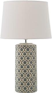 DRW Lámpara de Sobremesa de Cerámica con Pantalla en Azul 29x46cm