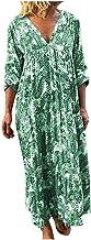 Women's Boho Floral Print Long Sleeve Loose Long Maxi Tunic Dress Vintage Printed Ethnic Style Shift Dress Respctful