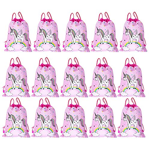 SIMUER 15 pcs Unicornio Bolsas de Fiesta Regalo Bolsa de Cuerdas Unicornio Bolsa con cordón Mochila Bolsa Dulces Gimnasio Backpack para Infantil Niñas Fiesta Cumpleaños Party