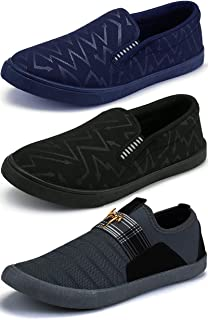 Ethics Men's Combo Pack of 3 Navy Blue, Black & Grey Casual Stylish Loafers Shoes for Men's