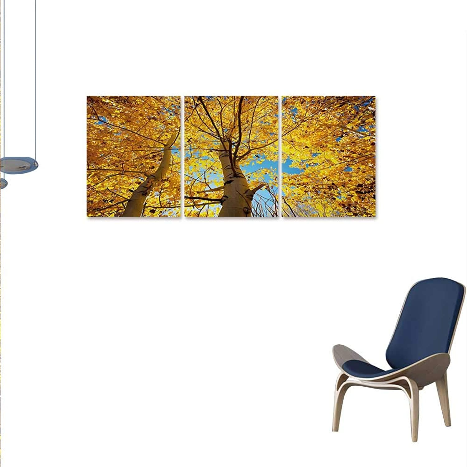 WinfreyDecor Nature Canvas Print Wall Art Autumn Fall Season Trees Forest Leaves Branches Sunbeams Art Photo Aall Art Stickers 16 x24 x3pcs Earth Yellow Sand Brown