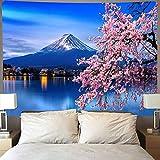 WERT Flor de Cerezo Monte Fuji Tapiz Tapiz Colgante de Pared Hermoso Paisaje Tapiz de Pared Tela de Fondo A1 180x200cm
