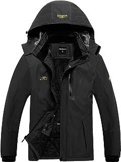 Men`s Mountain Waterproof Ski Jacket Windproof Rain Jacket U219WCFY028-Black-XXL