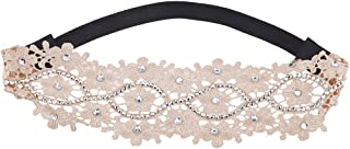 Lux Accessories White Flower Lace with Crystal Stones Heap wrap Stretch Headband