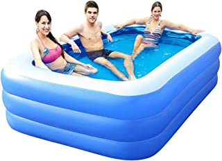 Inflatable Pools for Kids, Inflatable Swimming Pools, Family Swimming Pool, Swim Center for Kids, Adults, Babies, Toddlers, Outdoor, Garden, Backyard, 71x56x24in, Blue