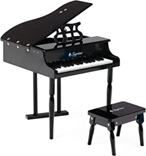 LAGRIMA Classical Kids Piano, 30 Keys Wood Mini Baby Grand Piano w/ Bench, Mini Musical Toy for Child (Black)