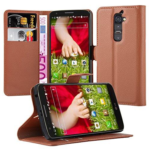 Cadorabo Hülle für LG G2 in Schoko BRAUN - Handyhülle mit Magnetverschluss, Standfunktion & Kartenfach - Hülle Cover Schutzhülle Etui Tasche Book Klapp Style