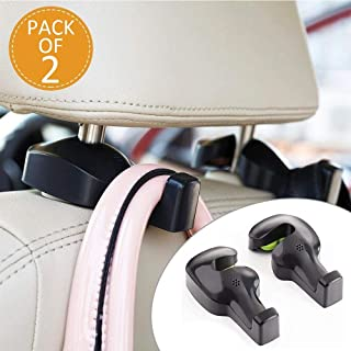 Lukzer (Pack of 2) Universal Car Back Seat Headrest Hook/Hanging Holder for Purse, Bags, Polybags, Handbags, Groceries Car Organizer (Black)
