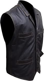 Hell on Wheels Cullen Bohannon Black Leather Vest Jacket with Lapel Collar