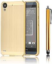 HTC Desire 626 626S Case, Bonice Premium Luxury Super Stylish Edge Shockproof Metal Frame + Acrylic PC Back Case Bumper Protective Cover for HTC Desire 626 626S + Stylus Pen - Gold
