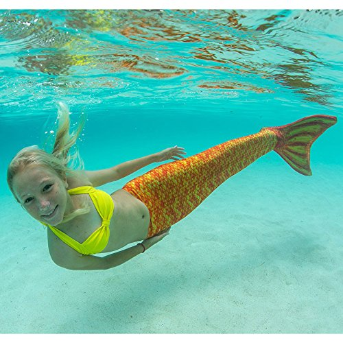 Fin Fun Mermaid Tail, Reinforced Tips, Monofin Included, Tropical Sunrise, Youth 12