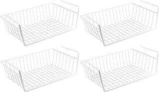 WELLGRO Lot de 4 corbeilles à suspendre en métal – env. 41 x 25 x 14 cm (L x l x h) – Créez un espace supplémentaire – Blanc