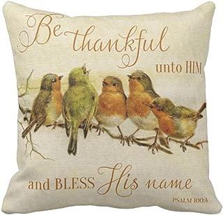 Emvency Throw Pillow Cover Orange Vintage Be Thankful Unto Him Bless His Green Scripture Decorative Linen Pillow Case Home Decor Square 20 x 20 Inch Pillowcase