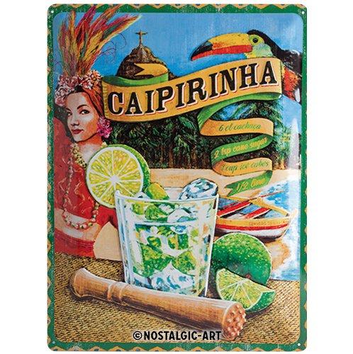 Nostalgic-Art Open Bar – Caipirinha – Geschenk-Idee für Cocktail-Fans Retro Blechschild, aus Metall, Vintage-Design zur Dekoration, 30 x 40 cm