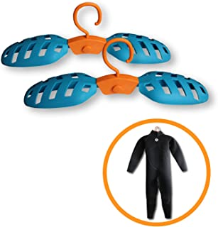 Onefeng Sports Foldable Wet Suit Hanger for Traveling Camping Laundry Hotel Plastic Clothes Wetsuit Hangers (Blue, 2 Pack)