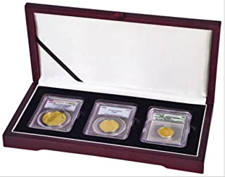 Display box for three NGC/PCGS/Premier/Lil Bear Elite Coin Slab Mahogany Matte Finish …