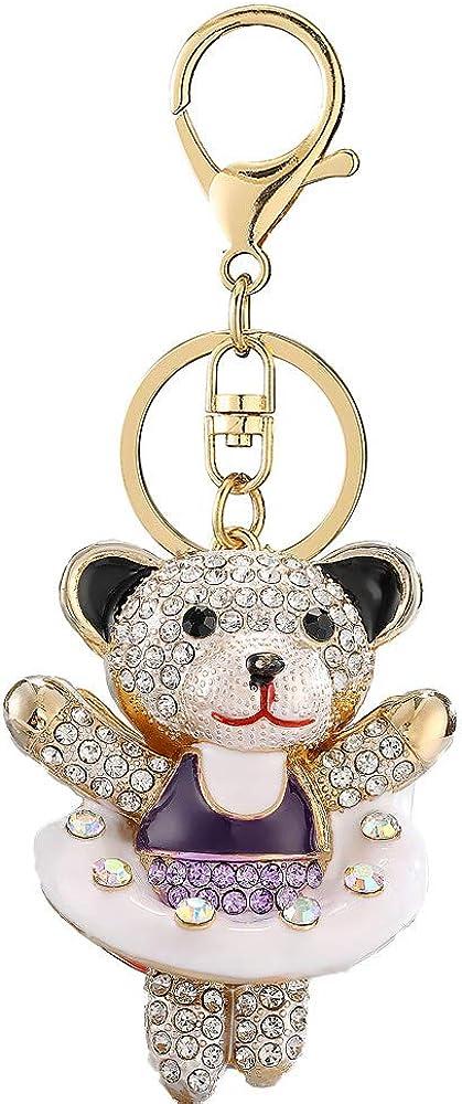 Little Swim Bear Rhinestones Keychain,Swimming Ring Sparkling Keyring
