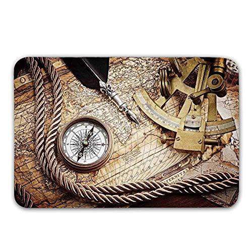Kinhevao Kompass-Vordertürmatte, Vintage Navigation Voyage Theme Lifestyle Image mit Sextant und Kompass Discovery Tools Fußmatte für Innen- oder Außenbadematte