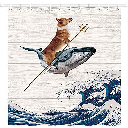 JAWO lustiger Corgi-H&-Duschvorhang, der Corgi reitet einen Wal auf riesigen Wellen, rustikaler Holzbrett-Hintergr&, Polyesterstoff, Badvorhänge-Set mit Haken, 175,9 x 177,8 cm