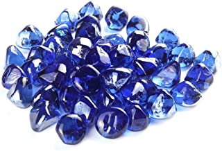 AUKENRN Fire Glass Rocks for Firepit - Glass Stones for Fire Pit Indoor and Outdoor Propane & Gas Fireplace Glass Beads - Vase Filler Gem Glass Unique Diamond Shape | 10 Pounds | Sapphire-Blue