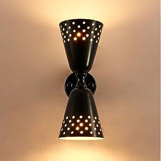 MX Light Fixture E27 Simple Glass Wall Lamp, Bedroom/Coffee Shop/Living Room/Hallway/Post-Modern Decoration, Gold, Black O...