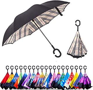 Unisex Inverted Inside Out Umbrella - Material Composition of Pongee Fabrics, Black Electric Ribs & Stainless Steel - Lightweight & Windproof Parasol - Suitable for Wind & Rain (Beige Geometric)