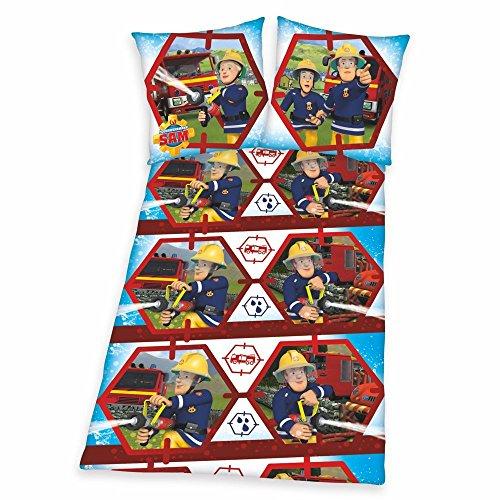 40 x 60 cm 1 Drap Housse en blanc 70 x 140 cm 3 pi/èces Baby Parure de lit r/éversible Motif: Pompier Sam 100 x 135 cm Renforc/é