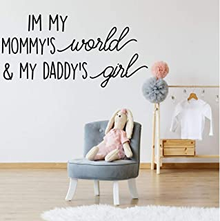 In My Mommys World /& My Daddys Girl Purple Other Colors Baby Girl Nursery Vinyl Wall Decal White Pink Decor Sticker for Newborn Bedroom or Toddler Playroom Blue Black