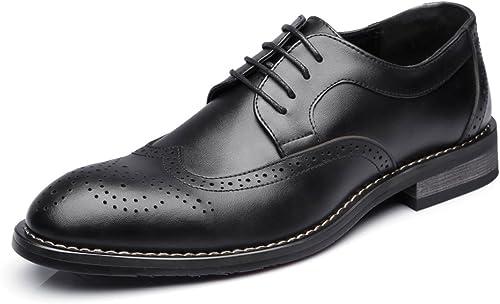 JUJIANFU-Bequeme Schuhe Mode Herren Low Top Business Schuhe Matte Hohl Schnitzen Echtes Leder Lace Up Atmungsaktiv Gefütterte Oxfords
