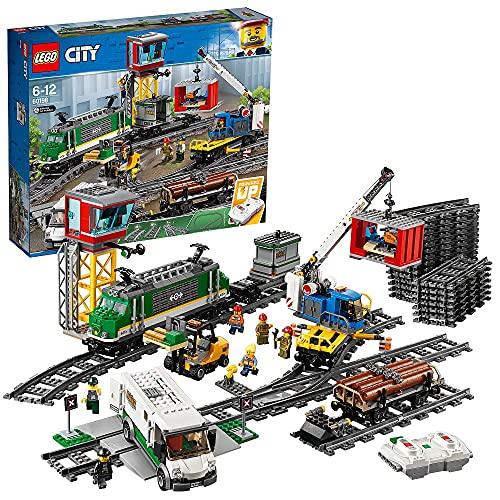 LEGO CityTrains TrenoMerci, Motore Alimentato a Batteria, per Bambini dai 6 Anni in Poi,Connessione Bluetooth RC, 3 Carrozze, Binari e Accessori, 60198