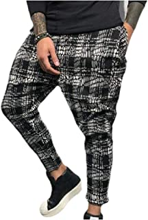 Mogogo Men's Gradient Fitted Digital Printed Fashion Jogger Sport Pants