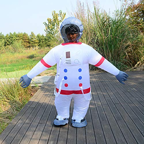 Sealed Astronaut Suit Spaceman Adult Unisex Blow up Suit Costume Inflatable Chub-Suit Costume Jumpsuit Cosplay Plus Size (White)