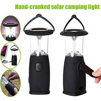 Alftek 6 LED Solar Hand-Up Kurbel Dynamo LED Licht Laterne Lampe für Outdoor Camping Jagd Wandern Segeln