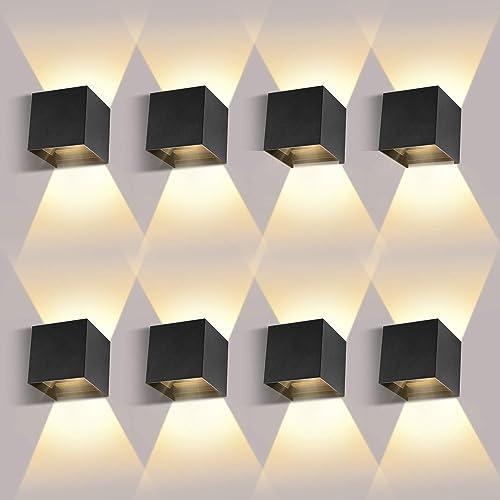8 Piezas Aplique Pared Interior/Exterior 12W 3000K Aplique de pared Ángulo de Haz Ajustable Aplique Pared LED Imperm...
