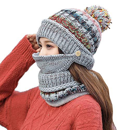 Bifida Womens Girls Knit Beanie Schal Mask Set Weiche, warme, mit Fleece gefütterte Winter-Skimütze mit Pompon
