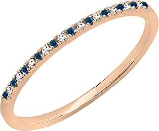 0.08 Carat (ctw) 10K Gold Round Blue & White Diamond Ladies Dainty Wedding Stackable Band