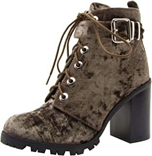 Qupid Women's Lace-Up Ankle Strappy Buckle Chunky Stacked Heel Ankle Bootie (10 B(M) US, Khaki)