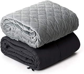 COSTWAY Schwere Decke Anti-Stress, Gewichtete Decke, Gewichtsdecke aus Baumwolle, Beschwerte Decke mit Bezug, Schwerkraft-Decke für Erwachsene und Kinder 152x203cm/9kg