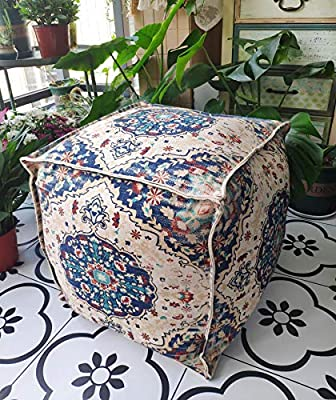 RISEON Moroccan Cotton Pouf Cover Indian Vintage Footstool Ottoman Poufs Unstuffed-Square Floor Cushion FootrestCover for Meditation, Yoga, Boho Floor Stool–Living Room, Bedroom and Under Desk