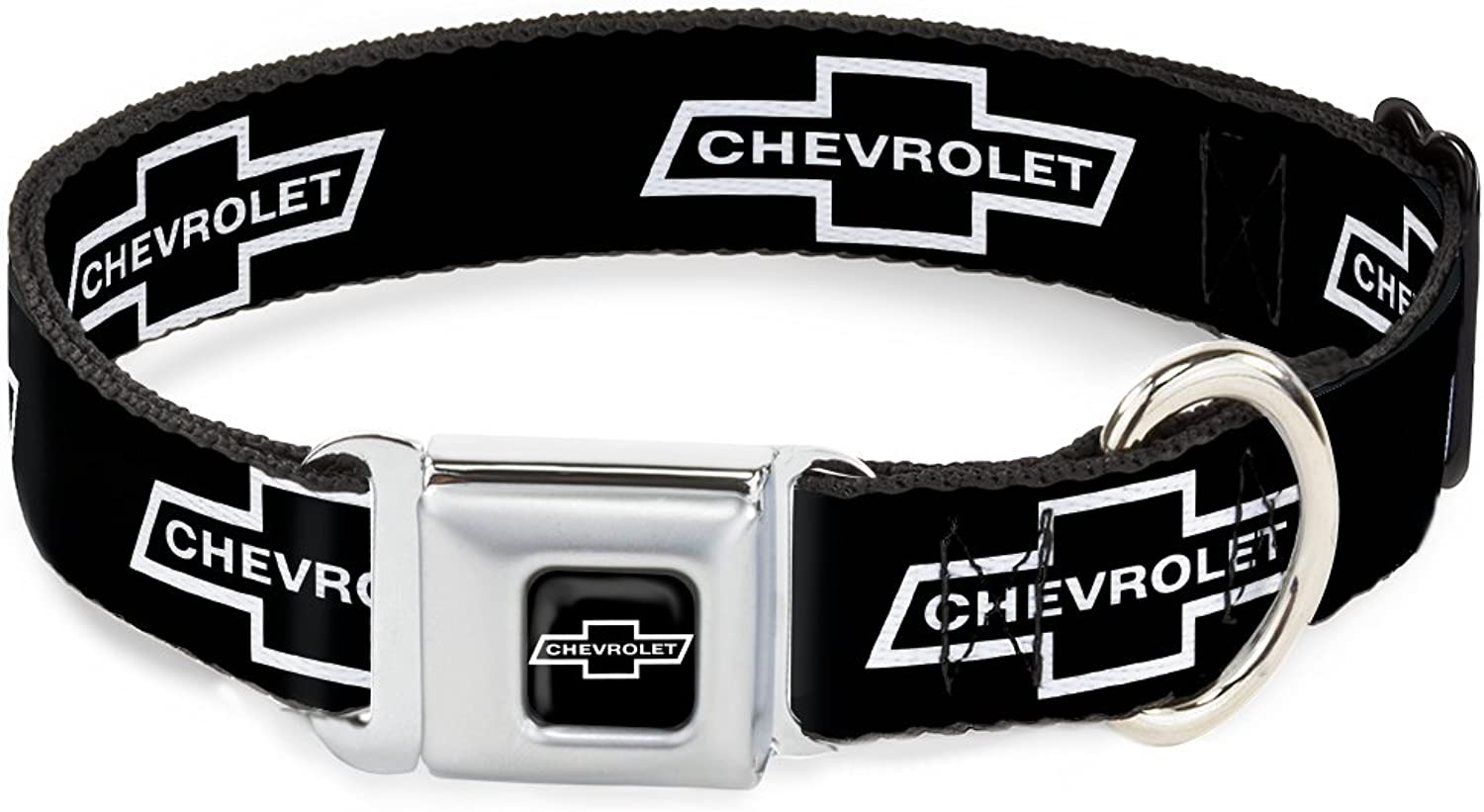 BuckleDown DCWCH044WL 1832  CHAX1965 Chevrolet Bowtie Full color Black White Dog Collar, Wide Large