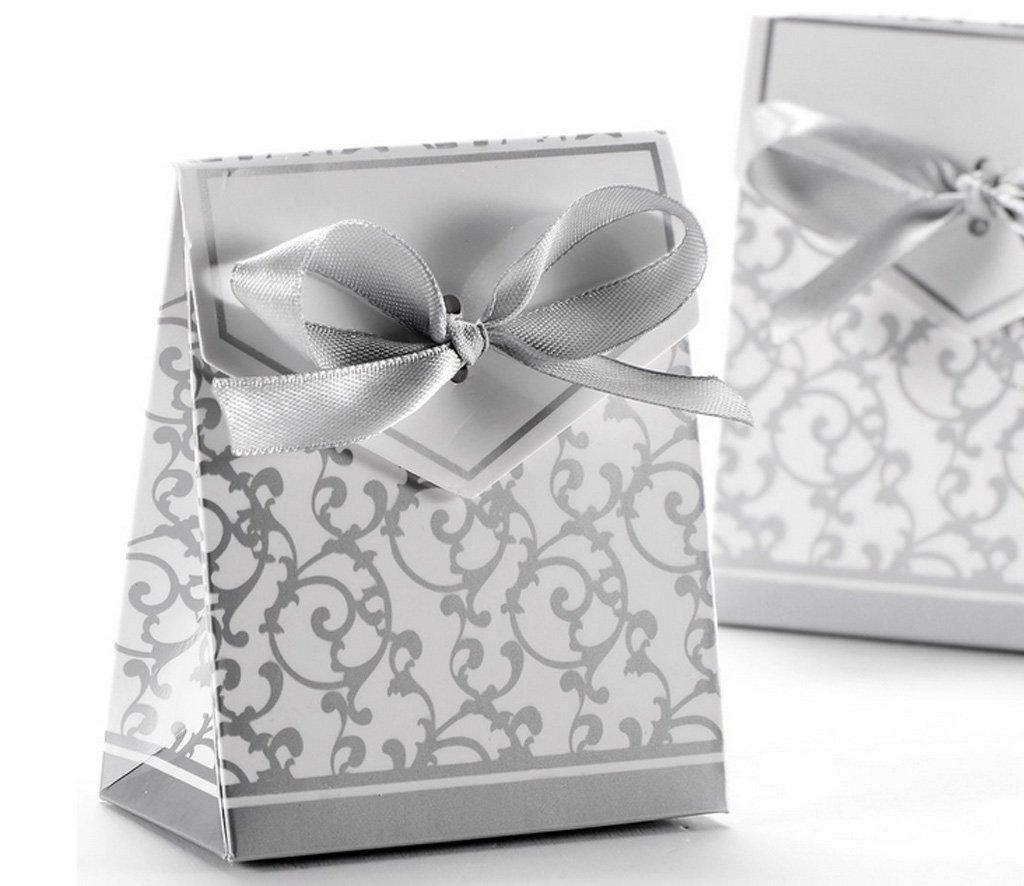 SHINA 100 piezas Cajas/ Cajitas para caramelos Cajas de regalo con cintas para fiestas bodas perfecto recuerdos (Plata): Amazon.es: Hogar