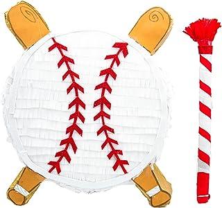 Baseball Pinata for Birthday Party Pinata Bat Decoration Traditional Mexican Fiesta White Pinata Sports Themed Party Suppl...
