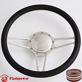 Flashpower 14'' Billet Half Wrap 9 Bolts Steering Wheel with 2'' Dish and Horn Button (Black)