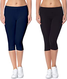 Aglobi Biowashed 220 GSM Cotton Strechable Women's Casual/Gym/Sports 3/4th Premium Capri Free Size Pack of 2