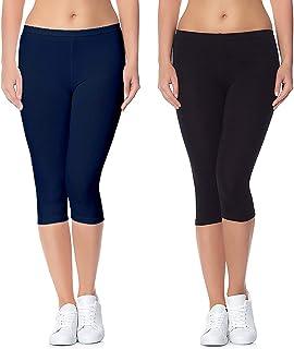 Aglobi Biowashed 220 GSM Cotton Strechable Women's Casual/Gym/Sports 3/4th Premium Capri Free Size Pack of 2